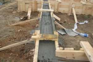 Заливка бетоном опорно ленточного основания