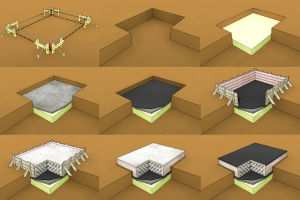 Эскиз поэтапных работ по установке фундаментных плит