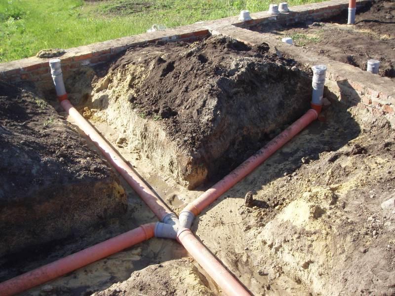 Как провести канализацию и водопровод под фундаментом