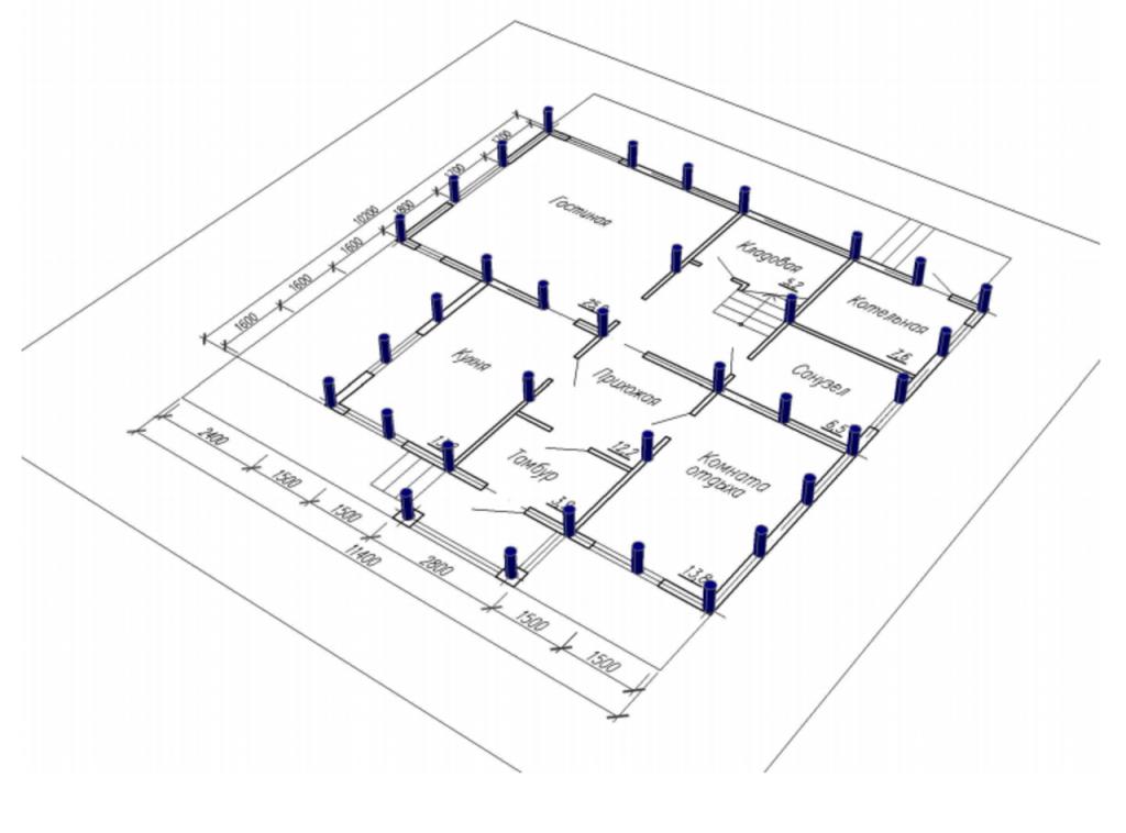 Свайно-винтовой фундамент дома: Определение расстояния между сваями.