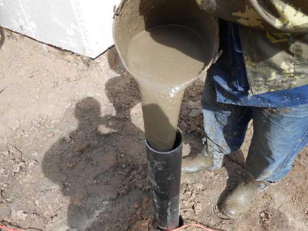 Заполнение свай бетоном